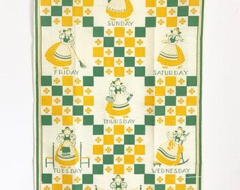 Vintage Towel Days of the Week Housewife Daily Chores Yellow Green
