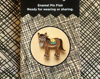 Horse Pin - Lapel Pin - Gold Enamel Pin - Shiny Gold Metal - Kawaii Flair Pin - Horse Lover - Pony Pin - EP2093
