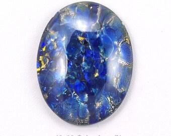 Large Blue Harlequin Czech Glass Cabochon 40x30mm - 1