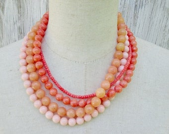 XMAS in JULY SALE Orange Beaded Layered Necklace, Coral Tangerine Salmon Beads Choker Collar