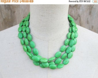 XMAS in JULY SALE Apple Green Triple Strand Beaded Necklace, Layered Multi Strand Beads
