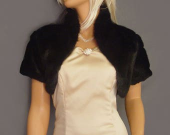 Faux fur bolero shrug jacket short sleeve with collar in Mink bridal evening stole coat wrap, fur shrug FBA101 AVL in black & 2 other colors