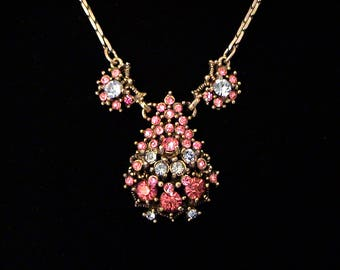 Vintage 1950 HOLLYCRAFT Pink and Blue Rhinestone Lavalier Necklace