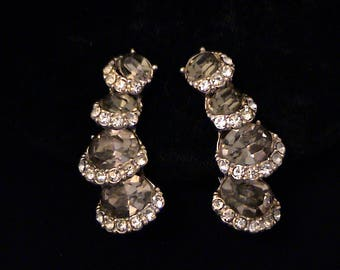 Vintage Smoky Black Diamond and Crystal Rhinestone Climber Earrings