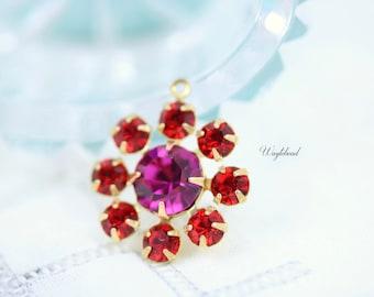 Rhinestone Daisy Flower Swarovski Crystal Pendant Charm Set Stones Brass Setting 19mm Light Siam & Fuchsia - 1