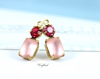 Frosted Pink & Indian Pink Swarovski Crystal 16x6mm Vintage Glass Drops Connector Octagon Set Stones 1 Ring Brass Settings - 2