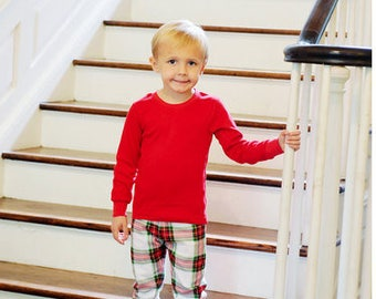Christmas Pajamas organic unisex sibbling  Boy Girl  Christmas morning pictures