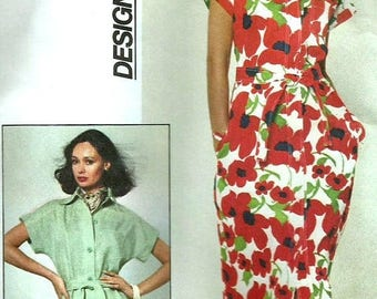 ChristmasinJuly Vintage 70s Simplicity 7924 UNCUT Misses Front Button Dress with Short Kimono Sleeves Sewing Pattern Size 16 Bust 38