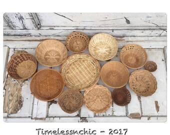 Vintage Wall Baskets - Woven Flat Baskets - Basket Collection - Decorative Baskets - Flat Baskets - Baskets - Wicker Baskets - Fiber Arts -