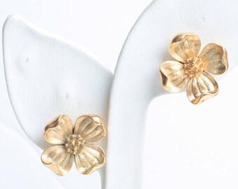 Crown Trifari Dogwood Flower Earrings Clip On Gold Tone Vintage