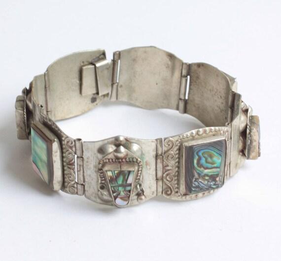 Mexican Face Mask Abalone Bracelet Alpaca Silver Metal Tribal Boho Eagle Mark