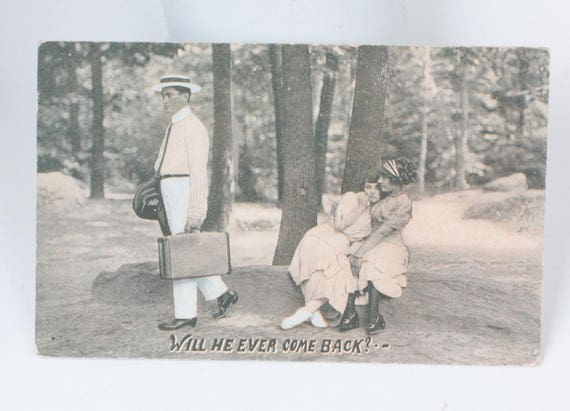 Humorous Antique Postcard Will He Ever Come Back?  Real People Photo Card RPP