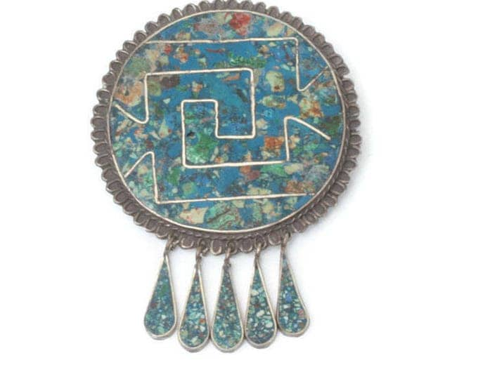 Taxco Crushed Stone Sterling Pendant Brooch Dangles Vintage