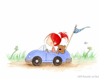 Redhead Girl In Race Car with Teddy Bear  - Art Print