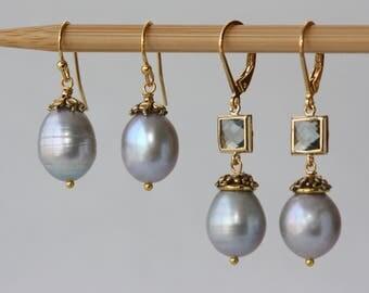 Gray Pearls Elegant Classic Earrings, Bridal Shop, Weddings, for Bridal Mom, Groom Mom, for Sister, Birthday Gift for Wife, Summer Trends