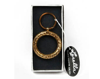 1980s Lyrella Gold Tone Plated Metal Mesh Round  Vintage Key Chain Key Fob New in Box