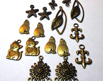 SALE Bronze Charm Mix, 30 Piece Package, Antique Brass Charms, spiritcatdesigns, Starfish, Cats, Leaves