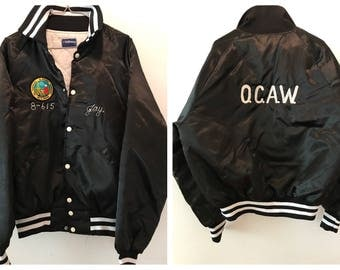 Vintage Black Satin Bomber Nylon Baseball Jacket Nylon Trainer Quilted Lining with Snap Front Hollowell OCAW Jay