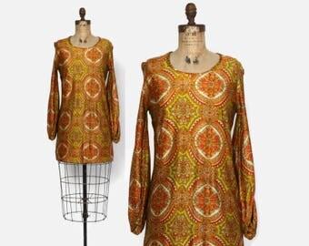 Vintage 60s Psychedelic DRESS / 1960s Silky Ethnic Print Mod Mini Dress S - M