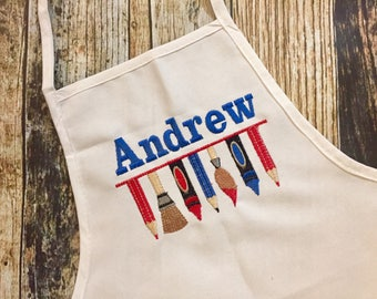 Artist Personalized Boy's or Girl's Apron - White Child's Apron - Embroidered Name - Art Smock