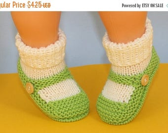 40% OFF SALE Instant Digital File pdf download Knitting pattern- Baby One Button Sock and Slipper Booties pdf download knitting pattern