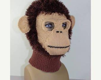 40% OFF SALE Instant Digital File PDF Download -Toddler Child and Adult  Monkey Mask Balaclava knitting pattern by madmonkeyknits