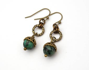 African turquoise stone earrings, blue green beads with brass hammered loop, French hooks, dangle
