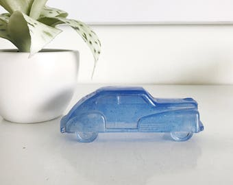 Vintage 1940's Opaque Blue Glass Car Candy Holder Studebaker, Candy Car, Kid Child Toy Car