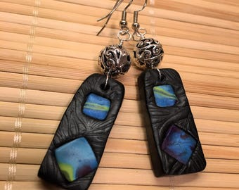 Black and Silver Polymer Clay Textured Dangle Earrings - Unique Textured Jewelry