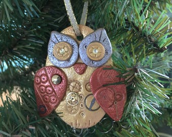 Steampunk Owl Holiday Ornament - Industrial Style Bird Animal Mixed Media Decor style 4