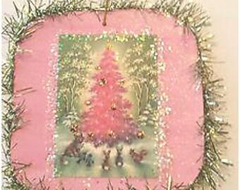 Vintage Style Christmas Tree Glittered Wood Ornament