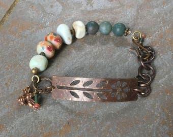 Brass daisy bracelet