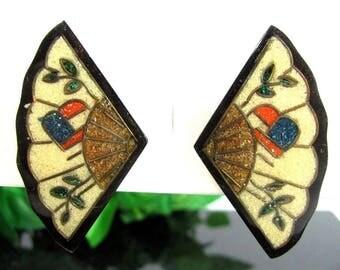 Vtg ORIENTAL HAND FAN Earrings Wood Fiber Mosaic Lacquerware Pierced Earrings