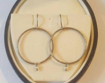 Vintage Sterling Silver and Pearl Dangle Hoop Drop Earrings