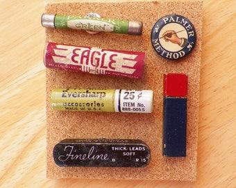 Colorful Unique Miniature Vintage Pencil Lead Tins / Palmer Method Button Thumbtacks / Push Pins / Office Gift, Authentic Miniature Tins
