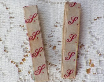 Two Small Strips Vintage French Laundry Label, Script / Scripted Red Letter S, Monogram, Initial, Repurpose, Craft, Ribbon, Scrapbook,