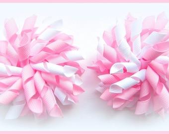 Rose Pink & White Korker Corker Bows Ponytails Pony'os Bobbles Clips Barrettes Set of 2