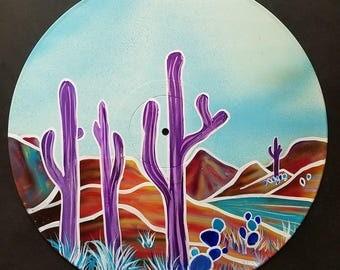 Purple Saguaros - Original Desert Landscape Painting on Vinyl Record by Mr Mizu