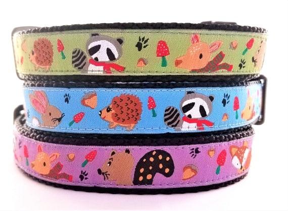 Mr Raccoon and Friends - Dog Collar / Handmade / Pet Accessories / Adjustable / Hedgehog / Raccoon / Rabbit / Fox / Dog Collar / Deer