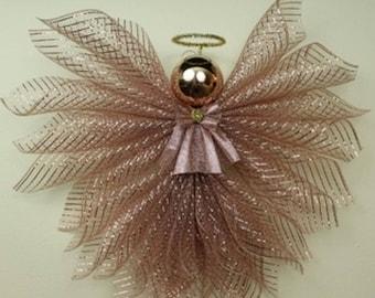 Rose Gold Deco Mesh Angel-LARGE
