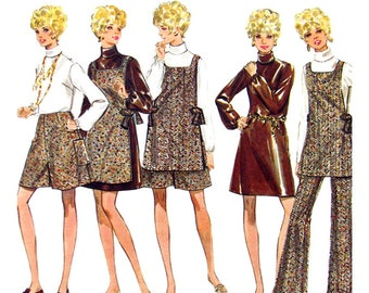 1960s Dress Blouse Tunic Pantskirt Pants Pattern Butterick 5353 Bust 36 Vintage Sewing Pattern