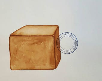 ANTONIO TOCORNAL #375 Cube Square Toasted Marshmallow Brick Stone Chunk Brown Sepia Vintage Watercolor Painting Artist Signed Eclectic Art