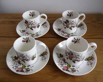 Vintage coffee cups and saucers by Hammersley c.1960s / Set of four espresso cups / apple or cherry blossom pattern
