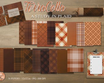 TerraCotta-A Study In Plaid, 18 Digital Papers/ Orange Tones*****Instant Download