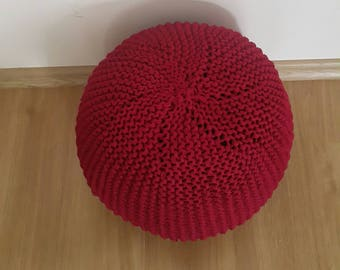 Knitted Pouf Ottoman footstool ,Chunky Knitted Footstool, Pouffe , Round Coffee Table