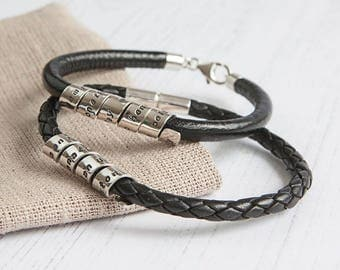 Personalised Life Story Scroll Bracelet sterling silver and leather
