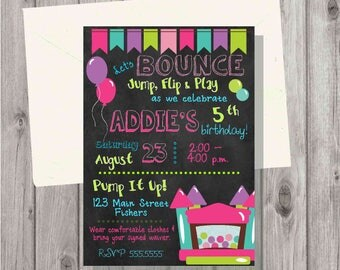 Digital Bounce House Girl Chalkboard Style Birthday Party Invitation Printable
