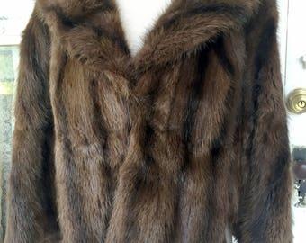 Vintage Dark Brown Stripe Real Fur Mink Cape Stole Jacket