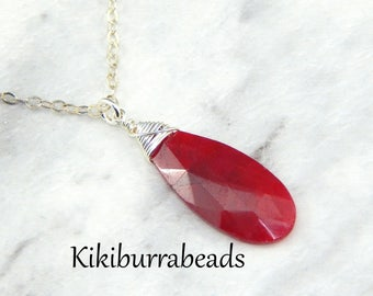 Ruby Necklace, July Birthstone, Layerling Necklace,Sterling Silver,Wire Wrapped Gemstone Necklace