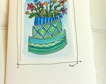 "Flower Cake  Watercolor Original Card ""Big Card"" 5x7 With Matching Envelope  betrueoriginals"